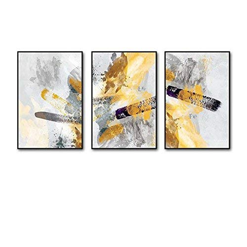 Xixuan Store Photo Wall 3 Multi Mural Set Solid Wood Drunk Ink Dripping Triptych Living Room Mural for Living Room/with Pictures Photo Fram for Desk (Color : 60cmx90cm|Gold Frame)