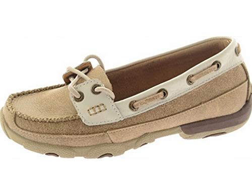 Twisted X Ladies Dusty Tan/White Driving Mocs - Slip Driving Moc