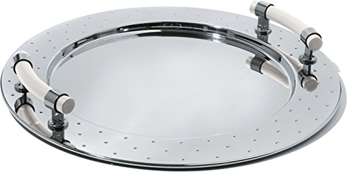 Alessi Round Tray in 18/10 Stainless Steel Mirror Polished With Handles in Pa, -