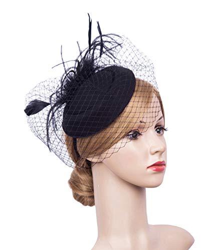 Cizoe Fascinator Hair Clip Pillbox Hat Bowler Feather Flower Veil Wedding Party Hat Tea Hat(3-Black5) -
