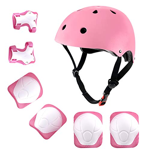 shuangjishan Child Multi-Sport Helmet with Knee Pads Elbow Wrist Protection Set for Skateboard Cycling Skate Scooter Pink