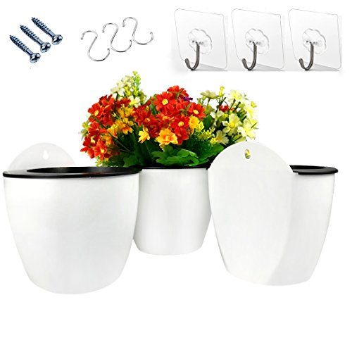 3 Pack Hanging Planter Pots Self Watering Vertical Garden Wall Mount Window Hang Round Plastic Container Indoor Outdoor for Plants Flowers Succulent Kitchen Living Herbs Holder Decor Decoration White by Orimerc