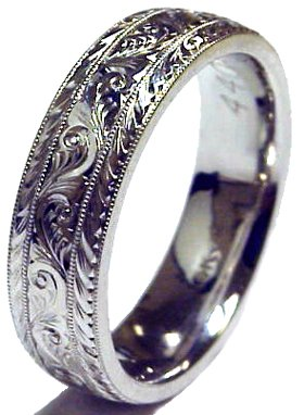 Gold 14k White Hand Engraved Wedding Band Ring 6mm Men S Comfort