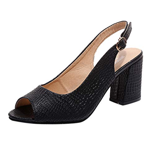 FengGa Spring and Summer Open Toe Sandals Pointed Stiletto High Heel Sandals Women's Wedding Party Evening Shoes Black]()
