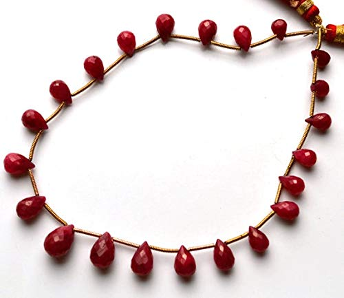 GemAbyss Beads Gemstone 1 Strand Natural 10 Inch Strand,Superb-Finest Quality AAA Quality Dyed Ruby Faceted Drops Shape Briolettes, 7 to 11 MM Code-MVG-28983