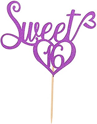 Amazon Com Purple Glitter Sweet 16 Cake Topper 16th