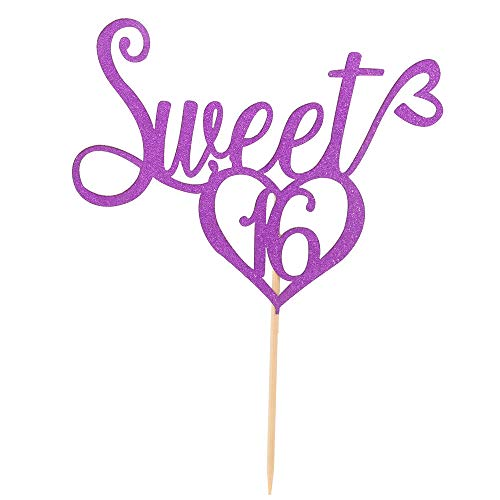 Purple Glitter Sweet 16 Cake Topper, 16th birthday Party Decorations,Sweet Sixteen Birthday Party Sign - Purple Kit