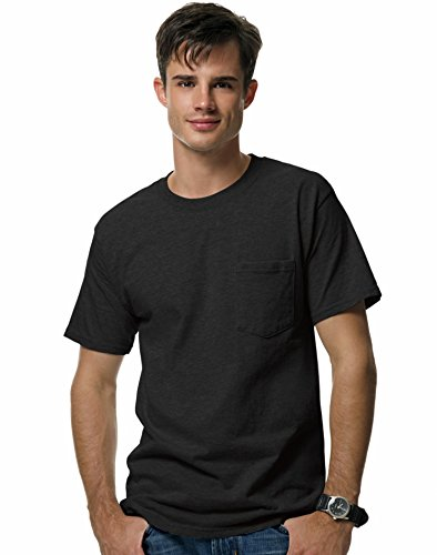 Hanes Short Sleeve Beefy Pocket T-Shirt - 5190,Black,Large
