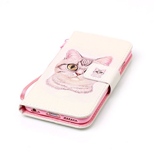 Para Smartphone Apple Iphone 6(4.7pulgadas) funda de piel para Apple iPhone 6(4.7pulgadas) Flip Cover Funda Libro Con Tarjetero Función Atril magnético + Polvo Conector azul 1 5