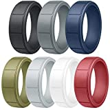Vancle Silicone Wedding Rings Rubber Bands for Men & Women (Men- #Black, Navy Blue, Grey, Light Grey, Olive Green, White, Wine Red, 8)