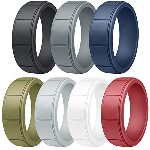 Vancle Silicone Wedding Rings Rubber Bands for Men & Women (Men- #Black, Navy Blue, Grey, Light Grey, Olive Green, White, Wine Red, 10)