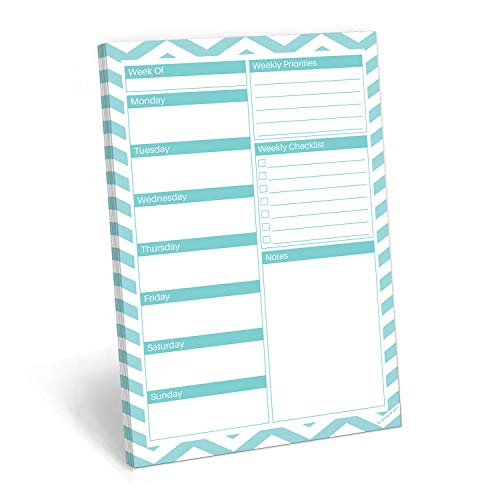 321Done Weekly Planning Notepad - 50 Sheets (5.5 x 8.5) - Week Priorities to Do List Tear-Off Pad, Planner Checklist Organizing - Made in USA - Chevron Teal