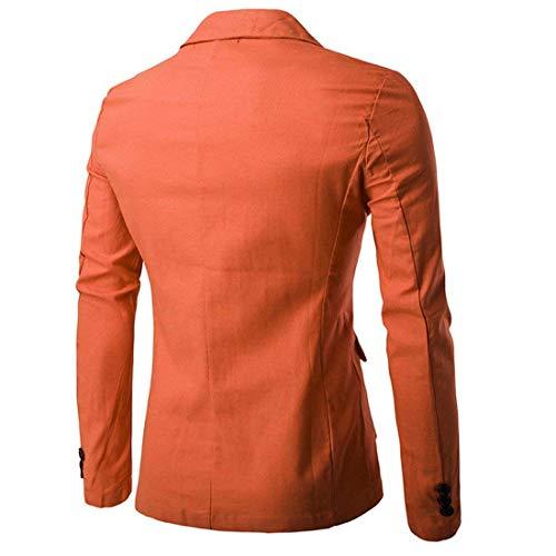 Slim Uomo Da Giacche Button Solidi Arancia 1 Giovane Ntel Libero Tempo Blazer Fit wqxwECa