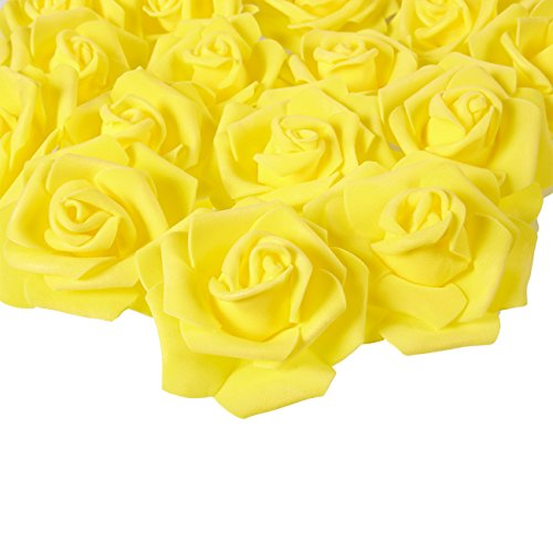 3 Yellow Love Roses - Juvale Rose Flower Heads - 100-Pack Artificial Roses, Perfect Wedding Decorations, Baby Showers, Crafts - Yellow, 3 x 1.25 x 3 inches