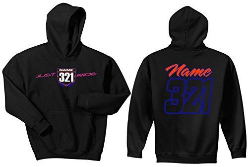 JUST RIDE Motocross Number Plate Custom Personalized Hoodie Sweat Shirt Yamaha (Large, Blue/Orange-White #'S) ()