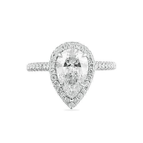 - 3.75ctw 3AAA Luxury Italian Zircon, Platinum Plated Rings, Pear Cut Beautiful Ring (White, 6)