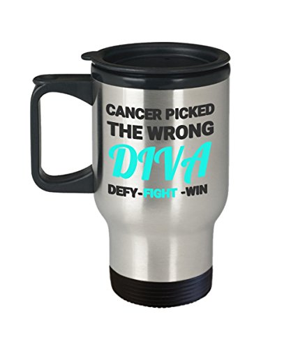 Chemo Travel Mug  Coffee Cup Gift  F Cancer Oncology Patient Gifts Diva Fight And Win Gifts