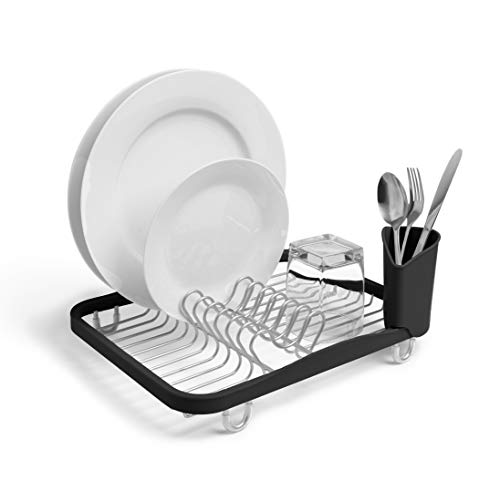Umbra Sinkin Dish Drying Rack - Dish Drainer Kitchen Sink Caddy with Removable Cutlery Holder, Fits In Sink or on Countertop, Black/Nickel