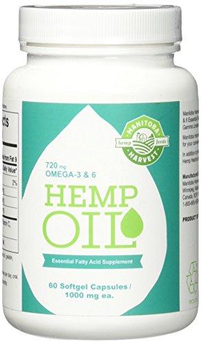 Manitoba Harvest Hemp Seed Oil Capsules - 60 Capsules -Pack of 1 1000mg ea. (Seed Oil Harvest Manitoba Hemp)