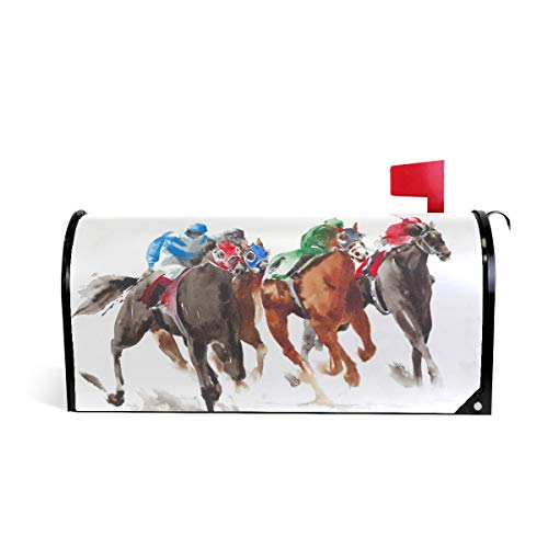 Covers Horse Racing (ZZKKO Magnetic Mailbox Covers Watercolor Horse Racing Letter Box Cover Colorful Painting Graden Outdoor Decorations,25.5x20.8 Inch Large)