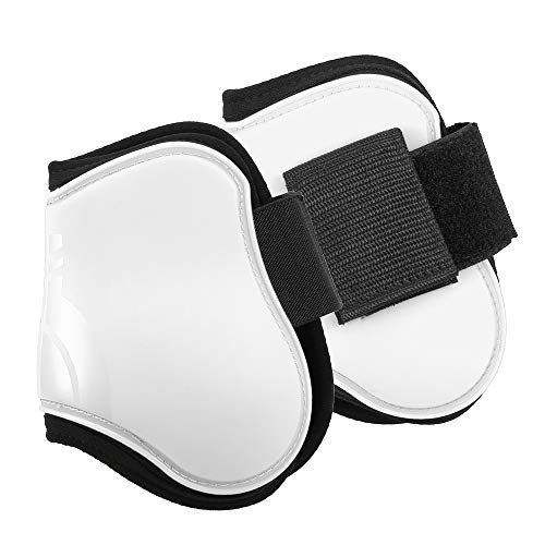 Explopur Horse Hind Boots - 2 Pieces White Equine Horse Leg Guard Tendon Shin Protection Neoprene Horse Hock Brace