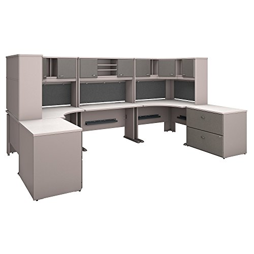 (Bush Business Furniture Series A 2 Person Workstation with Corner Desks, Hutches and Storage in Pewter and White Spectrum)