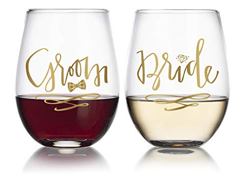 14K Gold Leaf Bride & Groom 19oz Stemless Wine Glasses, Hearts & Diamonds (2pk) - Gold Leaf Glass
