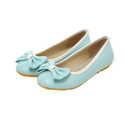 Allhqfashion Womens Solid Pu Lage Hakken Pull-on Closed-teen Pumps-schoenen Blauw