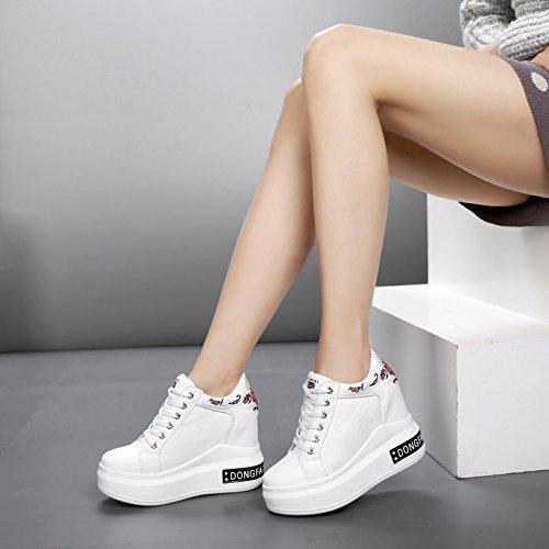 GTVERNH Damenschuhe Sommer Im Frühjahr 11Cm Super - High - Heels Turnschuhe Dicke Boden Schuhe Hoch Rein Reisen Stickereien Einzelne Schuhe.