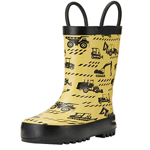 ADAMUMU Rain Boots Toddler Children's Waterproof Rubber Shoes with Easy-On Handles for Boys & Girls in Dinosaur Patterns, Various Prints and Different Sizes