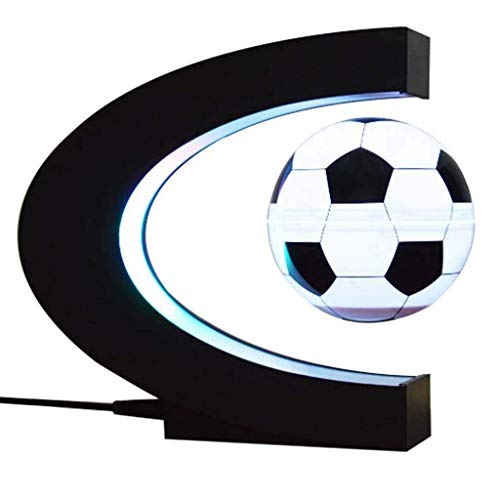 Earth instrument LHBNH Magnetic Suspension Desktop Globe - With LED Lights 3 Inch Rotating Football C-shaped Base Gravity Suspension In The Air For Desktop Decoration - Football Diameter 8.5CM Decorat
