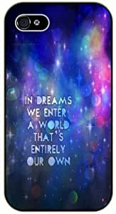 In dreams we enter a world that's enterely our own. Blue nebula - For Iphone 5/5S Case Cover black plastic case / Life and dreamer's quotes