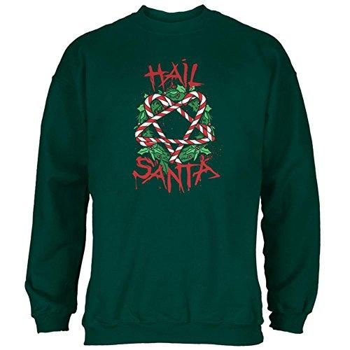 Old Glory Christmas Hail Santa Pentagram Wreath Mens Sweatshirt Forest Green SM