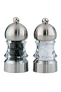 """Chef Specialties 3.5"""" Metro Pepper Mill and Salt Mill Set, Clear"""