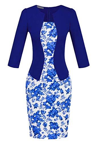 Sleeve Dress 4 Blue3 Fake Work Bodycon 3 Cromoncent Womens Pencil Printed Two Office qTxwtnPE