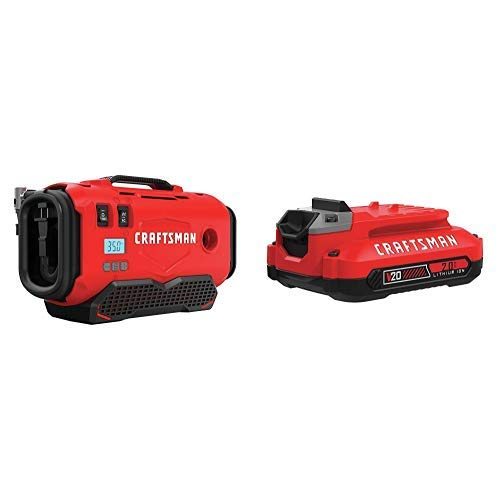 CRAFTSMAN V20 Inflator with Lithium Ion Battery, 4.0-Amp Hour, Charger Sold Separately CMCE520B CMCB204