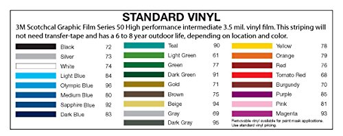2 3M Vinyl Striping 150 25 Colors Available Silver
