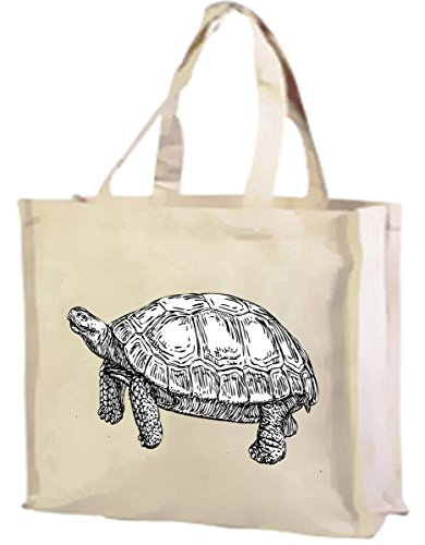 Tortoise gusset Bag with cream choice of Cotton cols Shopping q7SqOn61