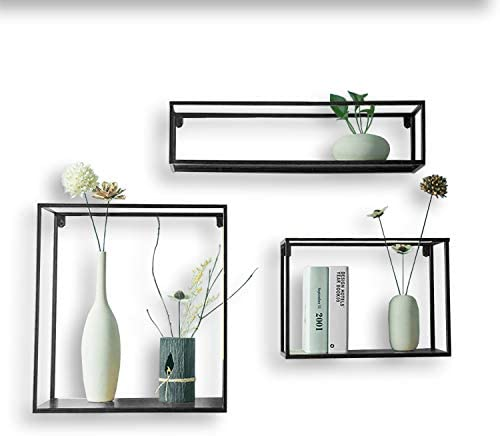 JERRY MAGGIE – Floating Shelves Imperative D cor Wall Hanging Shelves Black Steel Display Racks Home Decor Wall Rack Living Room Display Plants Space Saver with Wall Mounting Design