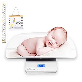 Baby Scale Multi-Function Digital Baby Scale with Free Growth Chart to Measure Your Baby Dogs Cats Adults Weight Accurately with 3 Weighing Modes Holding Function Blue Backlight Height Tray