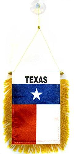 AZ FLAG Texas Mini Banner 6'' x 4'' - Texan US State Pennant 15 x 10 cm - Mini Banners 4x6 inch Suction Cup Hanger