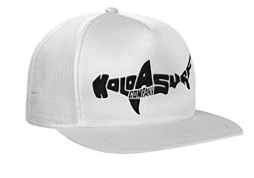Koloa Shark(tm) Mesh Back Trucker Hat in White/White with Black Logo