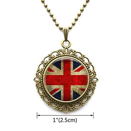 (AllGlassCharm Union Jack British Flag-Pendant Necklace-Union JackJewellery-UK Flag Necklace-Great Britain Flag Pendant,AS077)