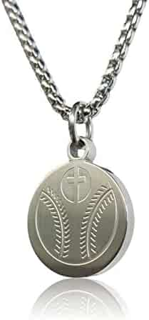 Pendant Sports Prayer Necklace Crafted in Stainless Steel with Luke 1:37 on The Back, Nicely Presented in a Black Velvet Jewelry Box Available in Baseball, Football, Hockey, Racing, Soccer, Volleyball