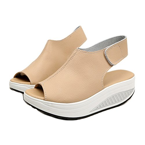 CYBLING Peep Toe Low Platform Wedge Sandals for Women Outdoor Exercise Athletic Walking Shoes Beige L177K