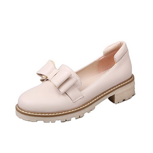 Toe Odomolor Pumps 36 On Pull Round PU Women's Heels Shoes Solid Low Beige nzx7FzYwqr