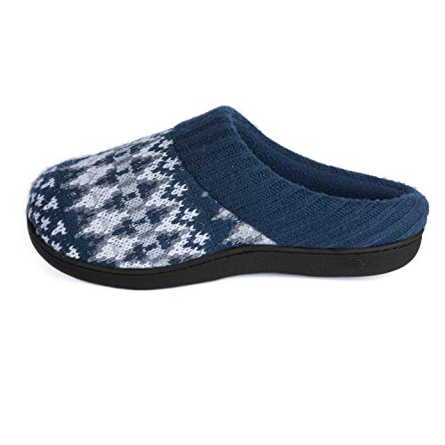 Zigzagger Womens Memory Foam Christmas Tree House Slippers with Hand-Knit Collar Anti-Slip Rubber Sole,Navy,11-12 B(M) US