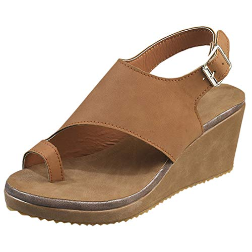 POHOK Large Size Sandals for Women Women Open Toe Breathable Beach Shoes Rome Buckle Strap Casual Wedges Sandals(42,Brown)