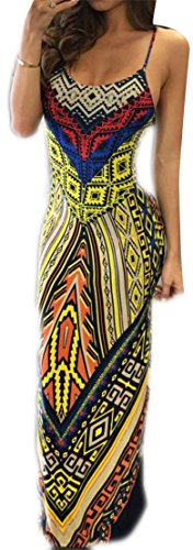 Slit Dress Backless Yellow Print Dashiki Spaghetti Long Strap Womens Cromoncent qfv7YABA