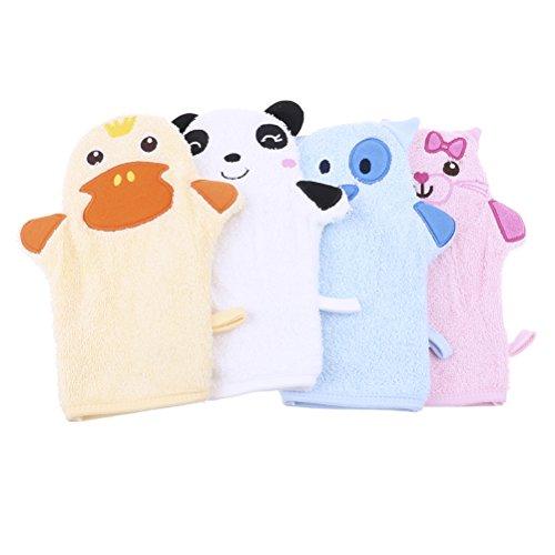 JUNKE 2-Pack Cute Cartoon Animal Puppet Soft Baby Bath Gloves Shower Body Wash Mitts for Newborn Toddler Kids Children, Duck & (Duck Wash Mitt)